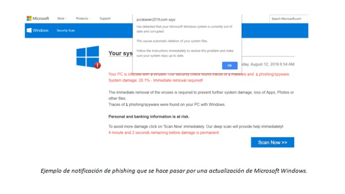Notificación phishing falsa Windows